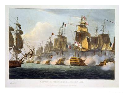 """Battle of Trafalgar, October 21st 1805, from """"The Naval Achievements of Great Britain""""-Thomas Whitcombe-Giclee Print"""