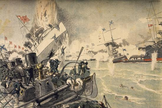 Battle of Tsushima Between Russian and Japanese Fleets, May 1905--Giclee Print