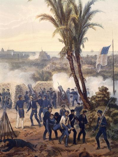 Battle of Veracruz, General Scott's Troops Attacking and Capturing City, 1847, Mexican-American War-Carl Nebel-Giclee Print