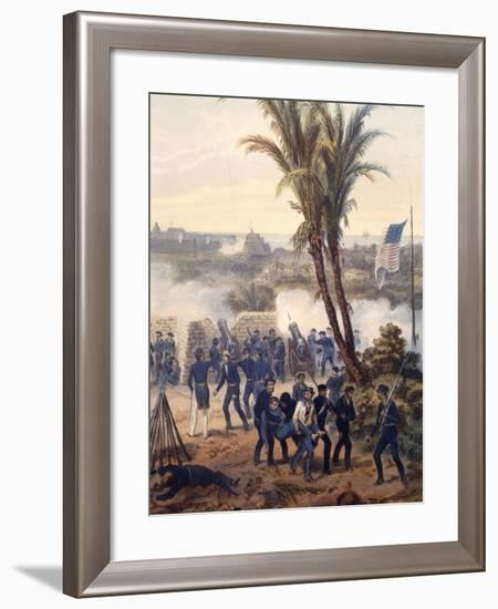 Battle of Veracruz, General Scott's Troops Attacking and Capturing City, 1847, Mexican-American War-Carl Nebel-Framed Giclee Print