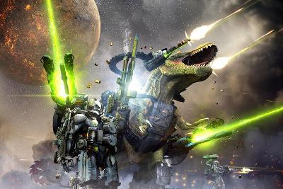 Battle Rex and a Team of Commandos Engaging an Unknown Enemy Force on a Planet in Another Galaxy.-Herschel Hoffmeyer-Art Print