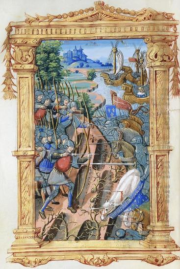 Battle Scene Between Archers and Cavalry, with Castle and Ships, C.1495-1500--Giclee Print
