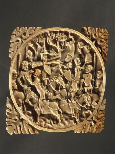 Battle Scene, Ivory Mirror Box, 1380, France--Giclee Print