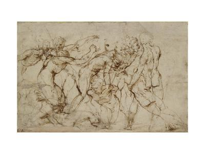 Battle Scene with Prisoners Being Pinioned (Pen and Brown Ink over Faint Indications in Black Chalk-Raphael-Giclee Print