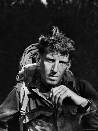 Battle-Weary Soldier, Member of Merrill's Marauders, Pausing with Cigarette, Burma Campaign in WWII-Bernard Hoffman-Photographic Print
