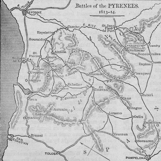 'Battles of the Pyrenees: Sketch Map', 1902-Unknown-Giclee Print