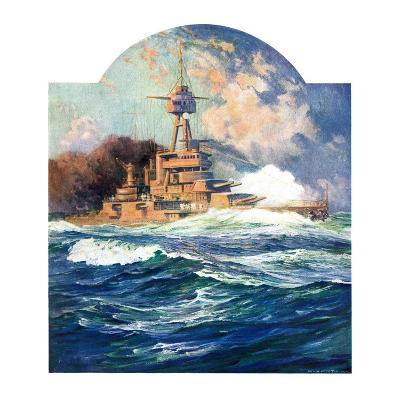 """Battleship at Sea,""April 9, 1932-Anton Otto Fischer-Giclee Print"