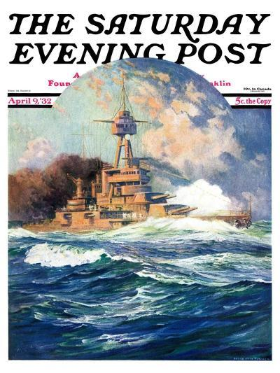 """Battleship at Sea,"" Saturday Evening Post Cover, April 9, 1932-Anton Otto Fischer-Giclee Print"