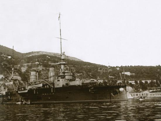 Battleship at Villefranche, France, c1914-c1918-Unknown-Photographic Print