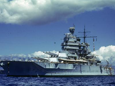 Battleship During Us Navy Manuevers Off Hawaii-Carl Mydans-Photographic Print