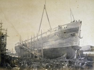 Battleship Re D'Italia under Construction in Webb Shipyard in New York, USA, 19th Century--Giclee Print