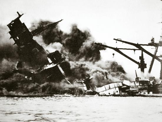 Battleship USS 'Arizona' (BB-39) sinking during the attack on Pearl Harbour, 1941-Unknown-Photographic Print