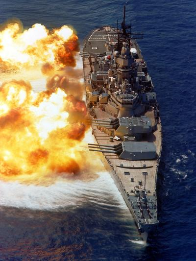 Battleship USS Iowa Firing Its Mark 7 16-inch/50-caliber Guns-Stocktrek Images-Photographic Print