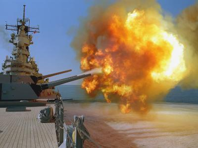 Battleship USS Wisconsin Fires a Round from One of the Mark 7 16-inch/50-caliber Guns-Stocktrek Images-Photographic Print