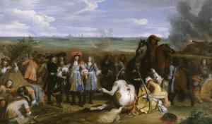Louis XIV, accompagné de Turenne, du futur maréchal de Duras, visite sous le feu de l'ennemi les by Baudoin Yvart