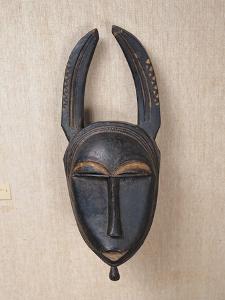 Baule Horned Mask, Ivory Coast, 19th-20th Century (Wood & Horn)