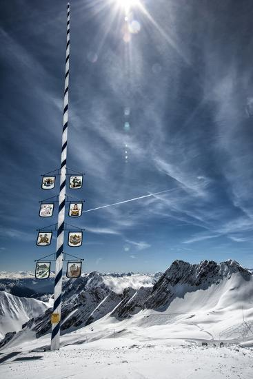Bavarian Alps, Zugspitze, Germany and Maypole in Winter Vertical-Sheila Haddad-Photographic Print