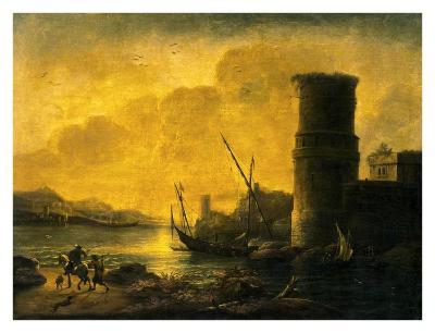 Bay at Sunset, 1549-Salvator Rosa-Art Print