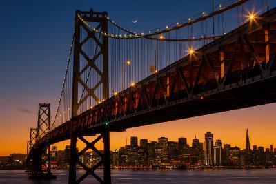 Bay Bridge and Crescent Moon Cityscape, California-Vincent James-Photographic Print