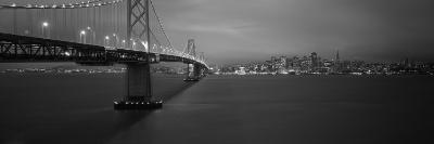 Bay Bridge Lit Up at Night, San Francisco, California, USA--Photographic Print