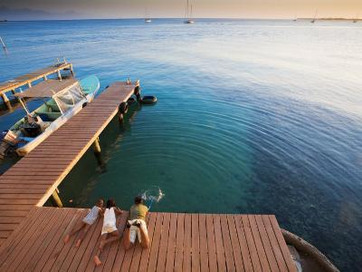 Bay Islands, Utila, Children Play on Jetty Outside Cafe Mariposa, Honduras-Jane Sweeney-Photographic Print