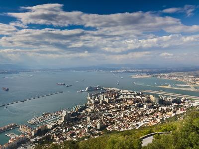 Bay of Gibraltar and Gibraltar Town from the Top of the Rock, Gibraltar, Europe-Giles Bracher-Photographic Print