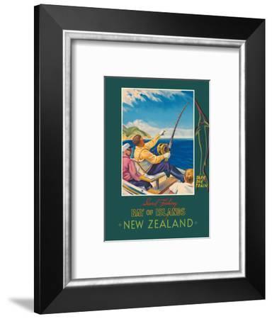 Bay of Islands - New Zealand - Sword Fishing - New Zealand Railways-John Holmwood-Framed Art Print