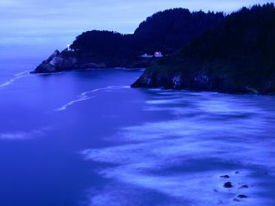 Bay with Heceta Head Lighthouse and Light Keepers House, Yachats, USA-Brent Winebrenner-Photographic Print
