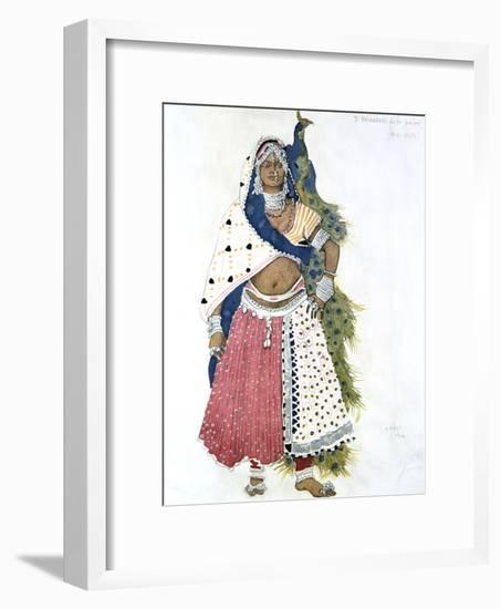 Bayadere with Peacock, Ballet Costume Design, 1911-Leon Bakst-Framed Giclee Print