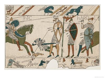 Bayeux Tapestry: Battle of Hastings Harold is Fatally Injured When an Arrow Pierces His Eye--Giclee Print