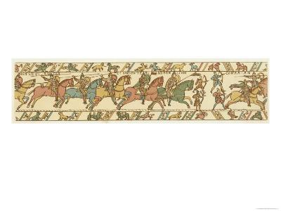 Bayeux Tapestry: Battle of Hastings Horsemen and Bowmen Advance on the English Position--Giclee Print