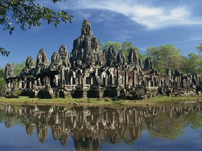 Bayon Temple Reflected in Water at Angkor, Siem Reap, Cambodia, Indochina, Southeast Asia-Gavin Hellier-Photographic Print