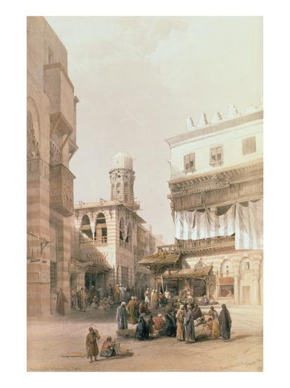 """Bazaar of the Coppersmiths, Cairo, from """"Egypt and Nubia"""", Vol.3-David Roberts-Giclee Print"""