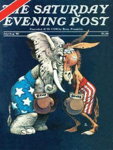 """Democrats vs. Republicans,"" Saturday Evening Post Cover, July/Aug 1980 by BB Sams"
