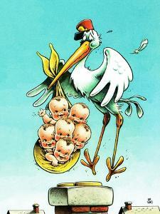 """""""Stork and Quints,"""" April 1, 1984 by BB Sams"""
