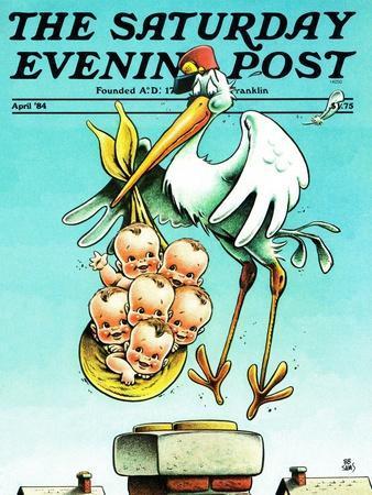 """Stork and Quints,"" Saturday Evening Post Cover, April 1, 1984"