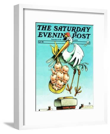 """Stork and Quints,"" Saturday Evening Post Cover, April 1, 1984"