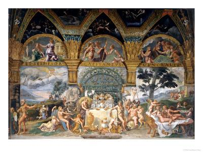 Bbanquet Celebrating the Marriage of Cupid and Psyche from the Sala Di Amore E Psiche, 1527-31-Giulio Romano-Giclee Print