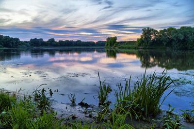 Evening Landscape on River in Kolomna