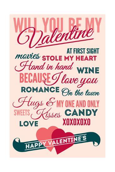 Be Mine - Valentines Day Typography-Lantern Press-Art Print