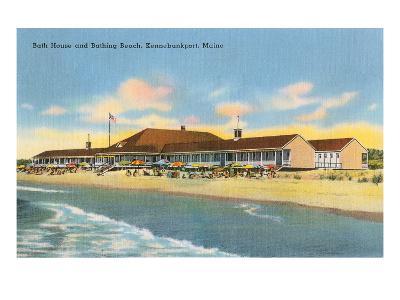 Beach and Bath House, Kennebunkport, Maine--Art Print