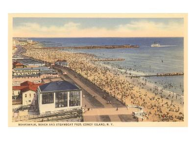 Beach and Boardwalk, Coney Island, New York City--Art Print