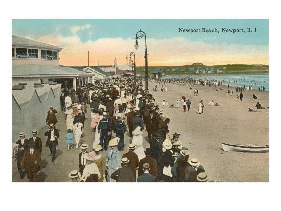 Beach and Boardwalk, Newport, Rhode Island--Art Print