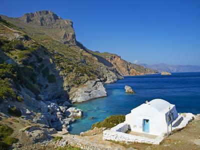 Beach and Church, Agia Anna, Amorgos, Cyclades, Aegean, Greek Islands, Greece, Europe-Tuul-Photographic Print