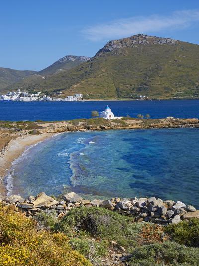 Beach and Church, Agios Panteleimon, Amorgos, Cyclades, Aegean, Greek Islands, Greece, Europe-Tuul-Photographic Print