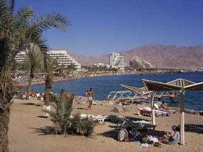 Beach and Hotels, Eilat, Israel, Middle East-Simanor Eitan-Photographic Print