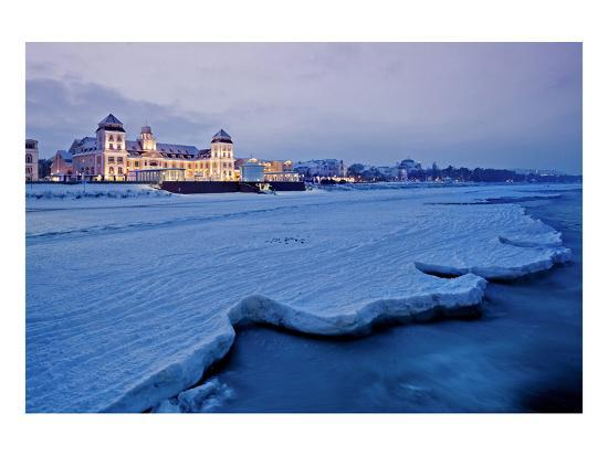 Beach and Kurhaus, Spa House, Seaside Resort of Binz, Island of Ruegen, Germany--Art Print