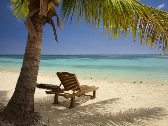 Beach and Lounger, Plantation Island Resort, Malolo Lailai Island, Mamanuca Islands, Fiji-David Wall-Premium Photographic Print