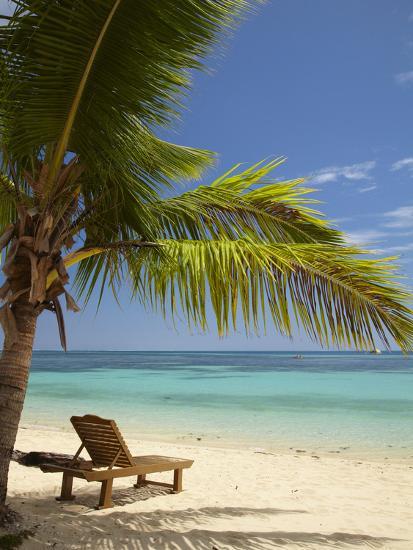 Beach and Lounger, Plantation Island Resort, Malolo Lailai Island, Mamanuca Islands, Fiji-David Wall-Photographic Print