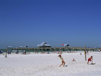 Beach and Pier, Clearwater Beach, Florida, United States of America, North America-Fraser Hall-Photographic Print